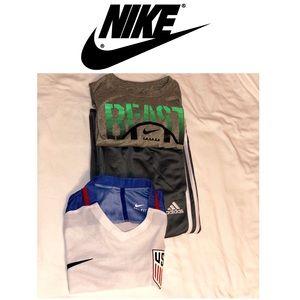 2 Nike Dri Fit shirts and 1 Adidas pants